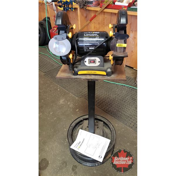 """Ultra Pro 8"""" Bench Grinder on Stand (Total Height = 46""""H)"""