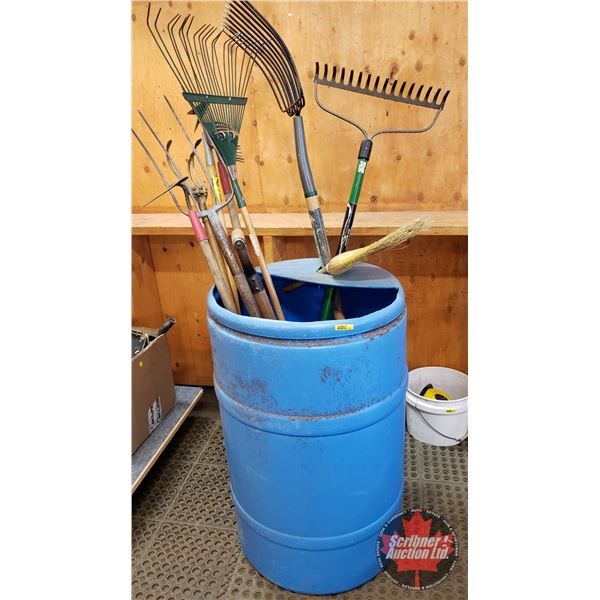 Plastic Barrel Lot: Long Handled Tools (Incl. Rakes, Pitch Forks, Hoe, etc)