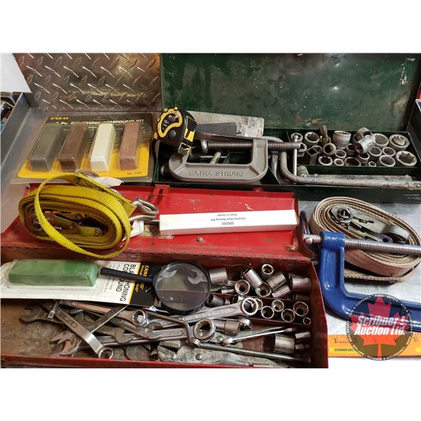 Tool Box Lots:  (w/Wrenches, C-Clamps, Sockets, Ratchet Straps, etc)