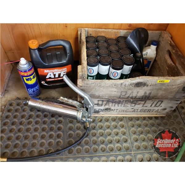 Wood Crate Lot (Grease, WD-40, Grease Gun, Funnel, etc) (SEE PICS!)