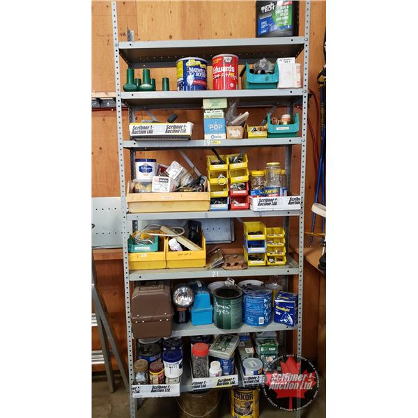 LARGE GROUPING : Shelving Unit with Contents (Incl: Screws, Nails, Nuts, Bolts , Electrical, Rivets,