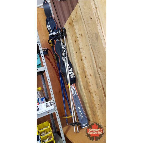 Downhill Skiis (5ft) & Ski Poles