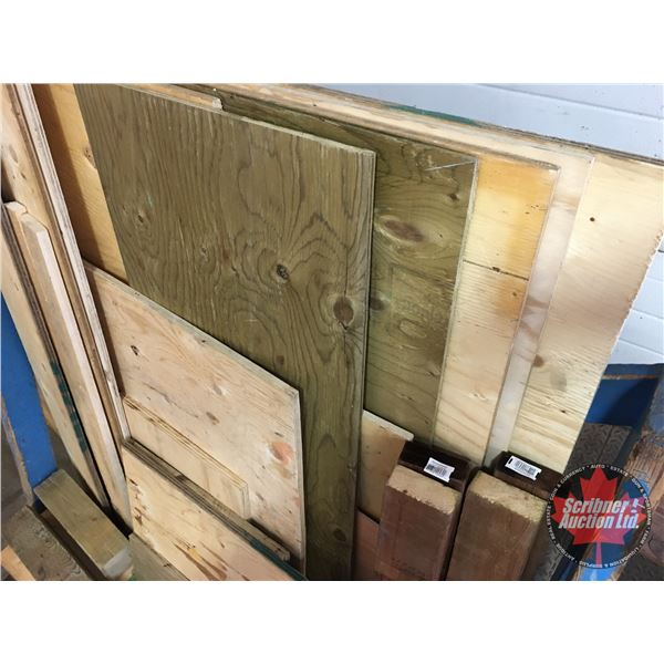 Assorted Lumber & Cut Offs + 4 Wooden Saw Horses (Blue Cart in pictures not included) (Incl. a Varie