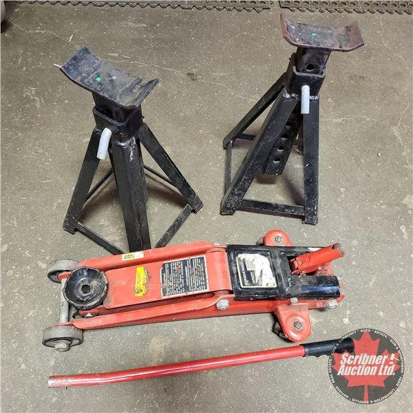 Hydraulic Floor Jack 4000lb Capacity & 2 Jack Stands