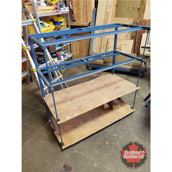 "Metal Cart w/2 Wood Shelves (SEE PICS!) (45""H x 42""W x 19""D)"