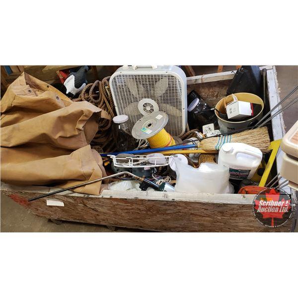 CRATE LOT: Fans, Canvas Tarp, Variety Rope, Jars, Parts, Broom, Garbage Bag Holders, Decoy, Jugs, Cr