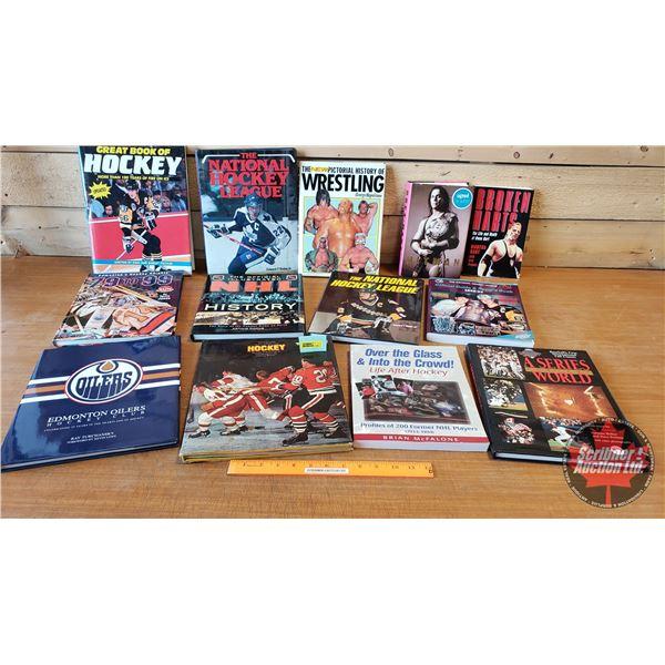 BOOKS (13): Sports Theme - Hockey, Baseball & Wrestling (Incl: The New Pictorial History of Wrestlin