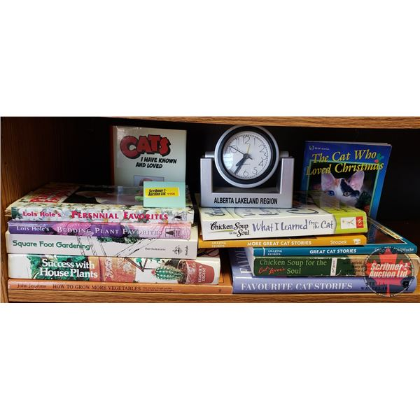 Clock & BOOKS (12): Variety - Gardening Books (5) & Cat Books (7) + Alberta Lakeland Region Clock