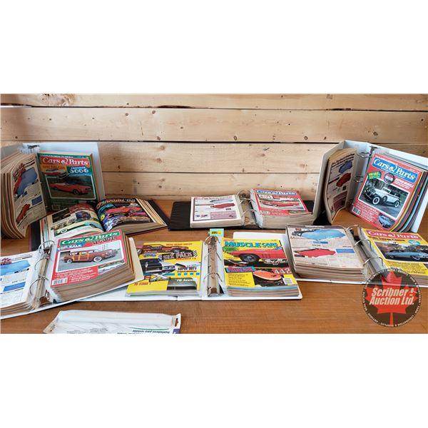 """CARS & PARTS"" Magazines '80's (7 Organized Binders) c/w Magazine Holders"