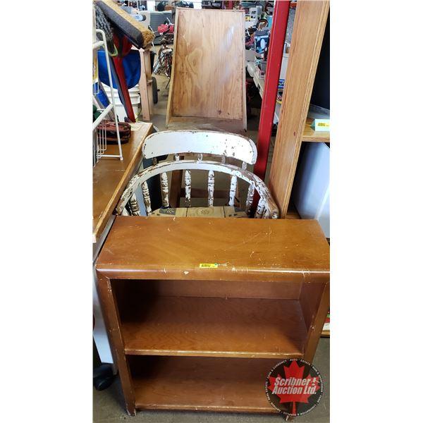 Furniture Combo: Small Wood Bookshelf + 2 Chairs