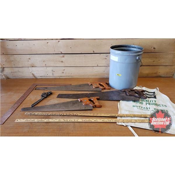 Pail Lot : Handsaws, Square, Yardstick & Apron