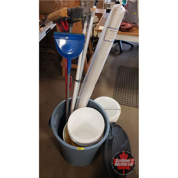 Garbage Can Lot: Pails, Clear Poly Wrap, Broom, Mop, Drywall Super Sander, Ext. Poles