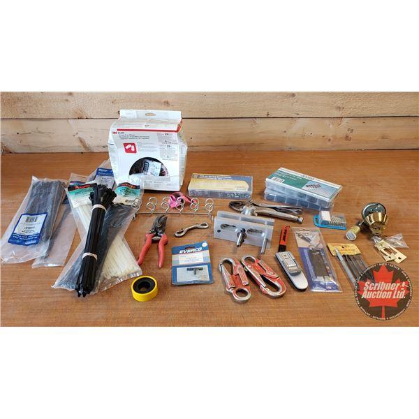 Tray Lot: Zip Ties, Vise Grips, Eternal Circlips, Springs, Ear Plugs, etc