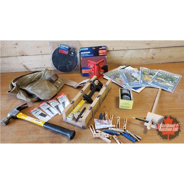 Tray Lot: Miterbox, Tool Belt, Corner Level, Contour Marker, Hammer, etc