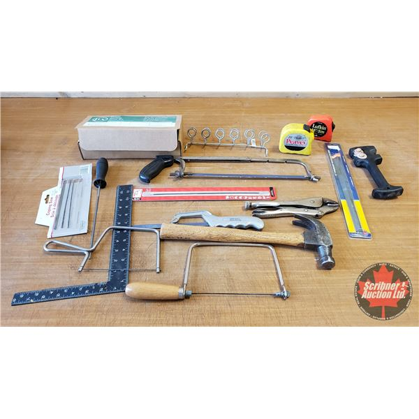 Tray Lot: Sanding Drum Kit, Vise Grips, Hammer, Measuring Tape, Coping Saws, Chainsaw File, etc