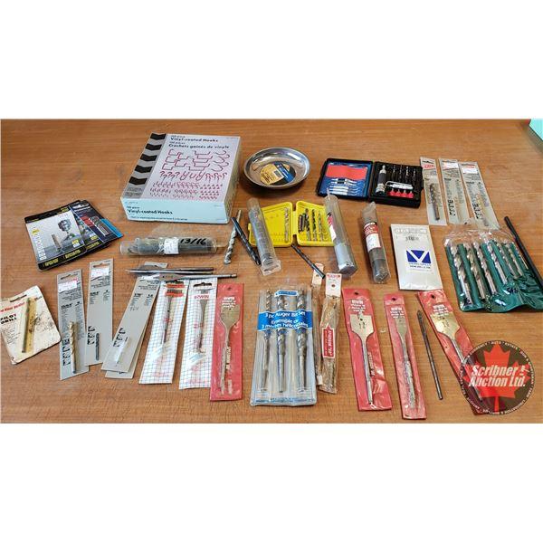 Tray Lot: Vinyl Coated Hooks, Magnetic Parts Tray, Drill Bits, Spade Bits, etc