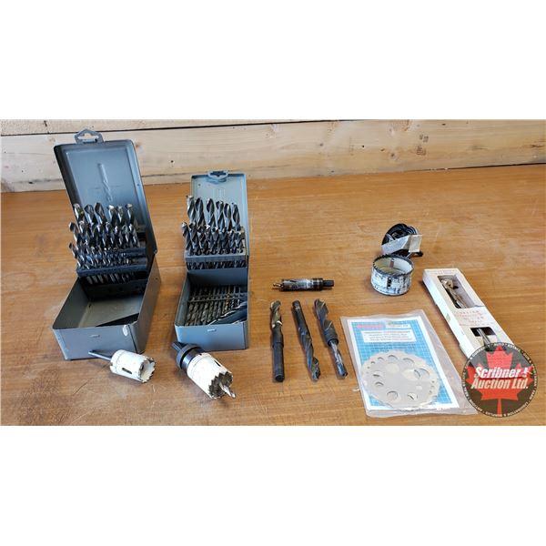 Tray Lot: Drill Bit Sets, Hole Saw Sets, Expansive Bit, Thread Gauges