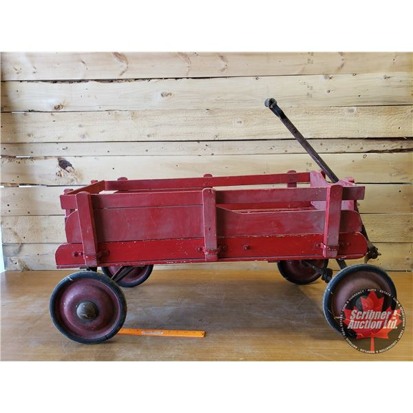 """Red Wood Wagon with Removable Sides (19""""H x 35""""W x 18-1/2""""D)"""