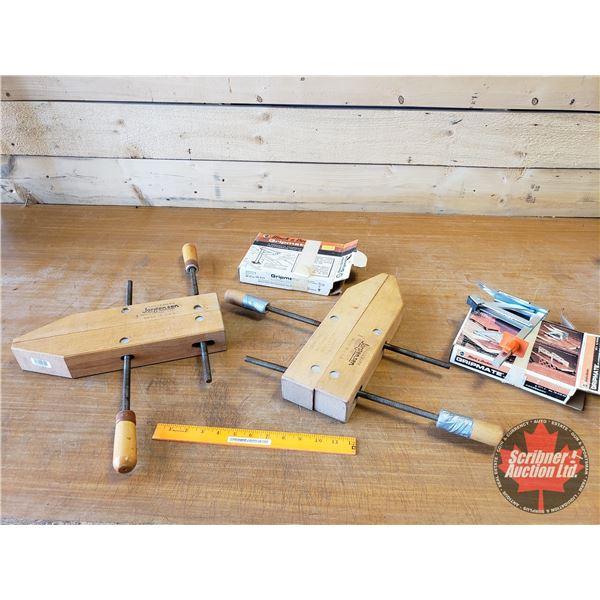 Tray Lot: Joregensen Adjustable Wood Clamps (2) ; B&D Grip Mates