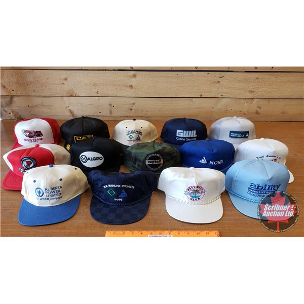 Tray Lot: Hats (13) Variety of Industrial (Incl: CAT, Nat Gas, etc) (SEE PICS!)