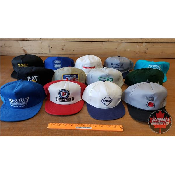 Tray Lot: Hats (13) Variety of Industrial (Incl: R. Angus CAT, United States Practical Shoot Assoc,
