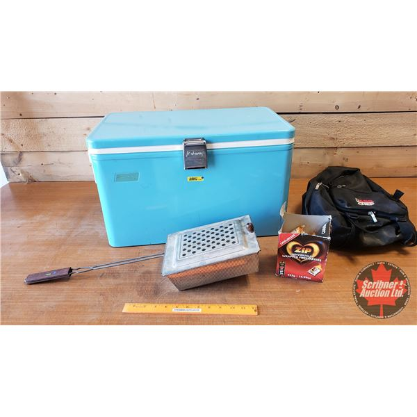 Camper Combo: Retro Coleman Cooler with Orig. Sandwich Tray + Zip Fire Starters, Campfire Cooker & B