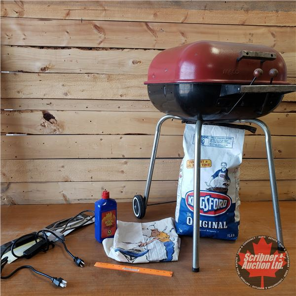 BBQ Combo: Meco Smoker Grill, Bag of Charcoal, Lighter Fluid, Electric Charcoal Starters & Apron