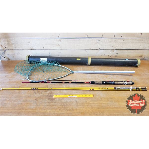 Fishing Net & Eagle Claw 8-1/2ft Fly Rod & Rod Case & 6ft Fishing Rod
