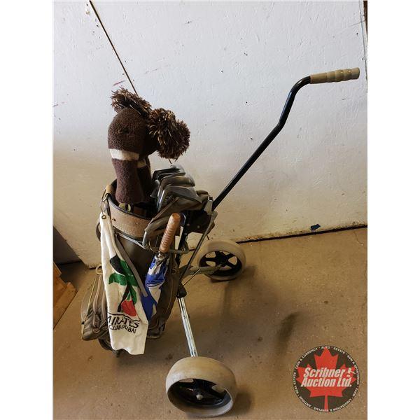 Golf Bag, Pull Cart & Assortment of Clubs, Umbrella, Balls, Tees, etc