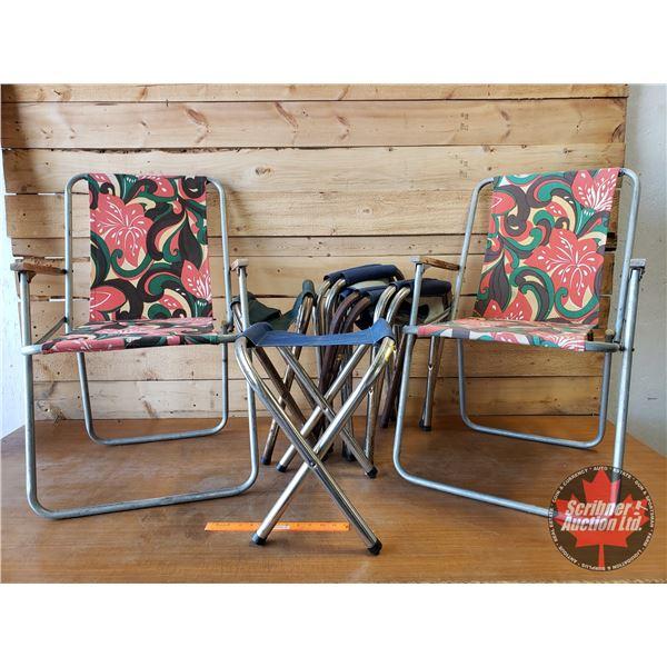 2 Retro Folding Camping Chairs & 6 Folding Camp Stools