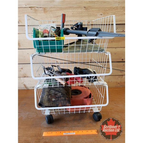 Stacking Basket Roller w/Sprinklers, Gardening Tools, Camo Netting, etc
