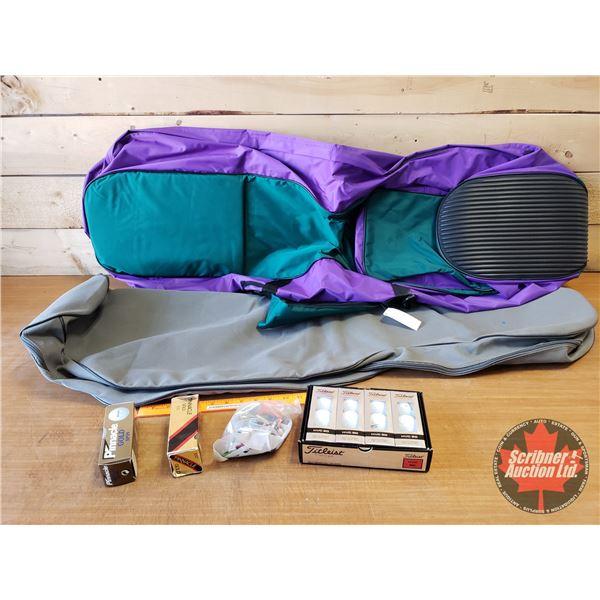 Golfing Bags, Travel Covers (2) & Golf Balls & Tees