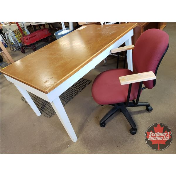 """Wooden Table & Rolling Office Chair (Table = 29""""H x 36""""D x 56-1/2""""W)"""