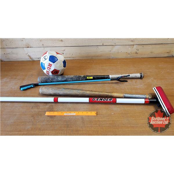 Sporting Group: Wood Bats (2), Curling Broom, Soccer Ball, Grabber