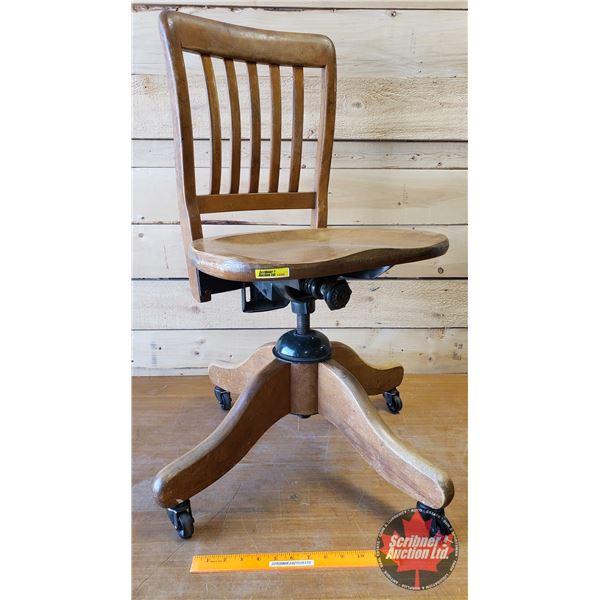 "Wood Office Chair ""H. Krug Kitchener, Ontario"" (32""H)"