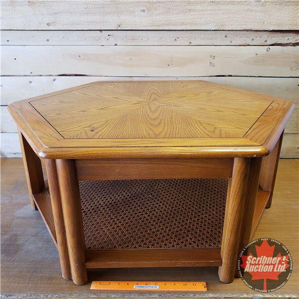 """Hexagon Coffee Table w/Wicker Bottom Shelf (15-1/2""""H x 32"""" Dia)"""
