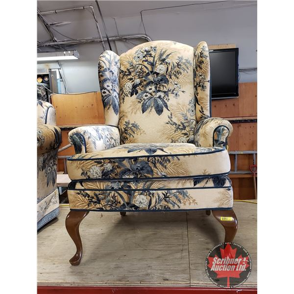 """Floral Wingback Sitting Chair (40""""H x 31""""W x 31""""D) (Matching Pattern to Lot#1222 & #1224)"""