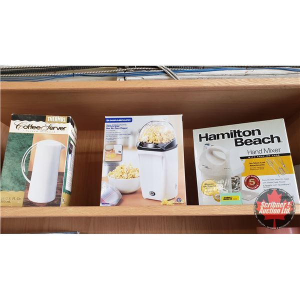 Kitchen/Small Appliance Trio: Coffee Server Insulated Thermos, Durabrand Hot Air Corn Popper, Hamilt