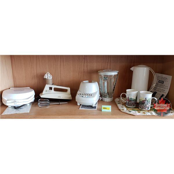 Kitchen/Small Appliance Combo: Proctor Silex Blender, Sunbeam Mixmaster, Sunbeam Belgian Waffle Make