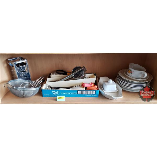 Kitchenwares Combo: Plates, Gravy Boat, Butter Tray, Kitchen Cookware Utensils, Strainers, Grater (S