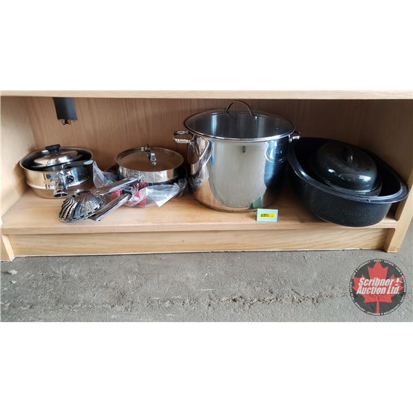 Kitchenwares Combo: Large & Small Roaster, Frying Pan, Large Pot, 2 Medium Pots, Small Pot, Steamer