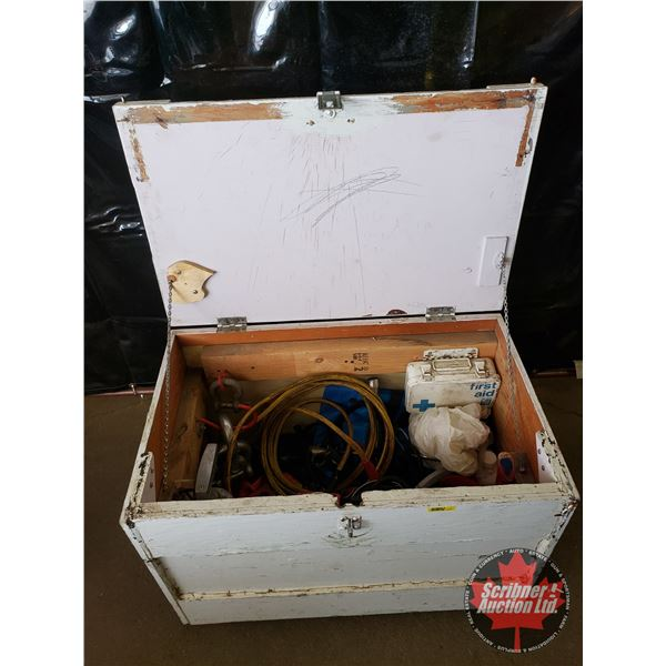 Emergency Vehicle Box: Booster Cables, First Aid Kit, Fire Extinguisher, Bungie Cords, Straps, Tow R