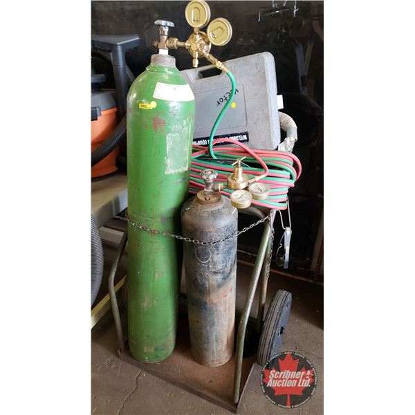Oxygen / Acetylene Torch Kit on Cart w/Extra Torch Ends (NOTE: Oxygen is approx 1/2 full & Acetylene