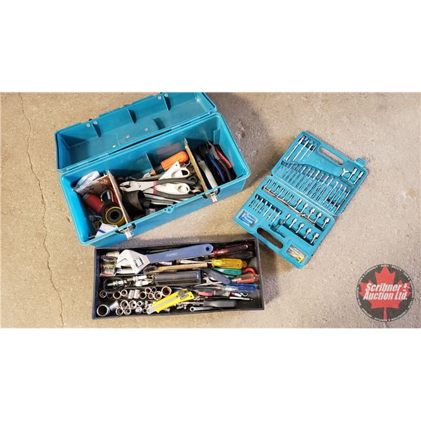 Toolbox w/Asst'd Hand Tools, Wrenches, Pliers & Drill Bit Set