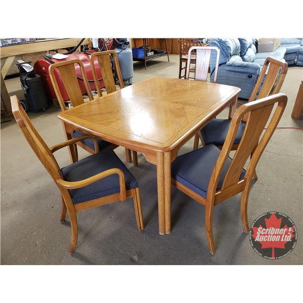 """OAK Dining Room Table / 6 Chairs w/2 Leaves (Table = 29-1/2""""H x 55""""L x 40""""W without Leaves)"""