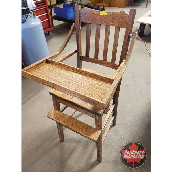 """Oak Antique High Chair (39-1/2""""H)"""