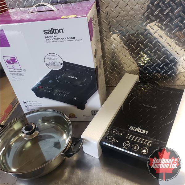 Salton Portable Induction Cooktop - Maximum 1300 Watts c/w Stainless Steel Pot