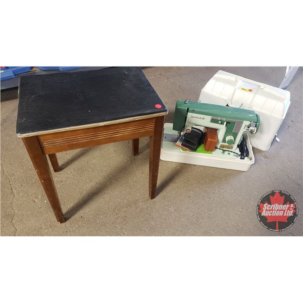 White Electric Sewing Machine w/Sewing Stool