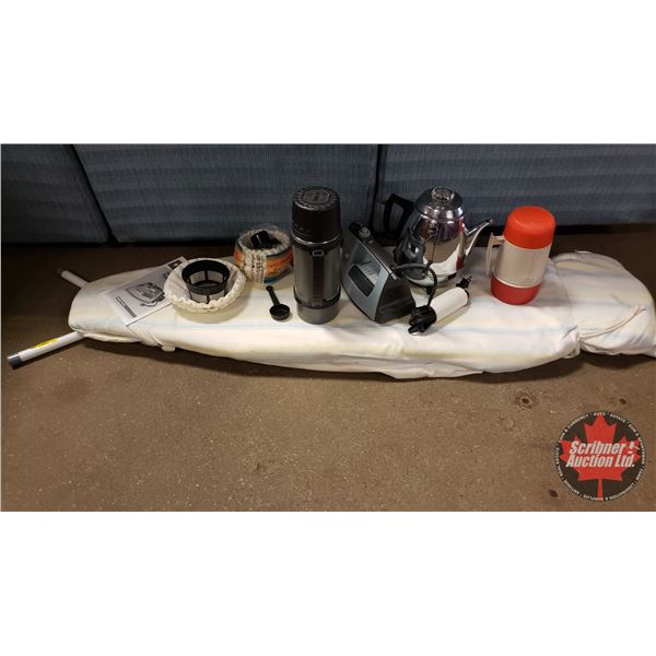 Ironing Board, Iron, Thermos (2), Percolator, Coffee Filters, etc (SEE PICS!)