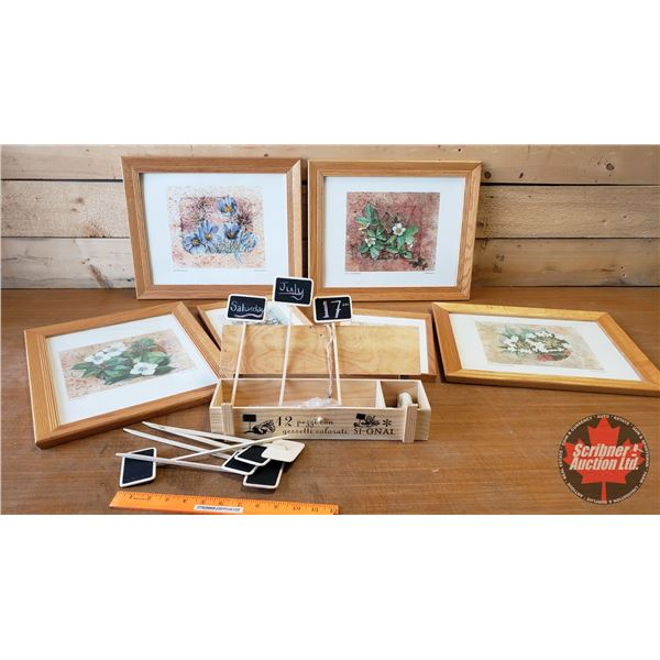 Framed Flower Prints (6) & Small Chalk Markers